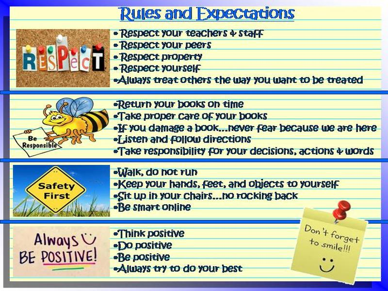 Rules Amp Expectations Beach Elementary Library Media Center